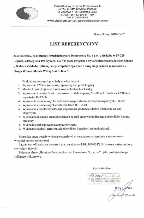 List referencyjny - Stal-Chem